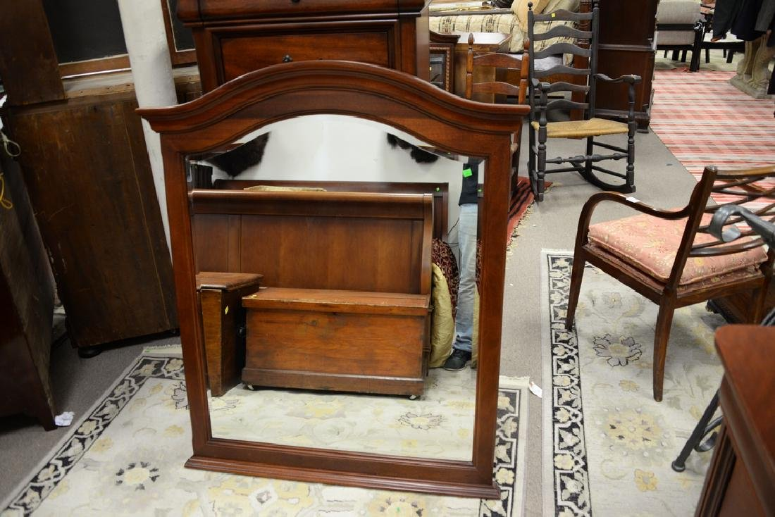Cherry eight drawer chest and mirror along with - 4