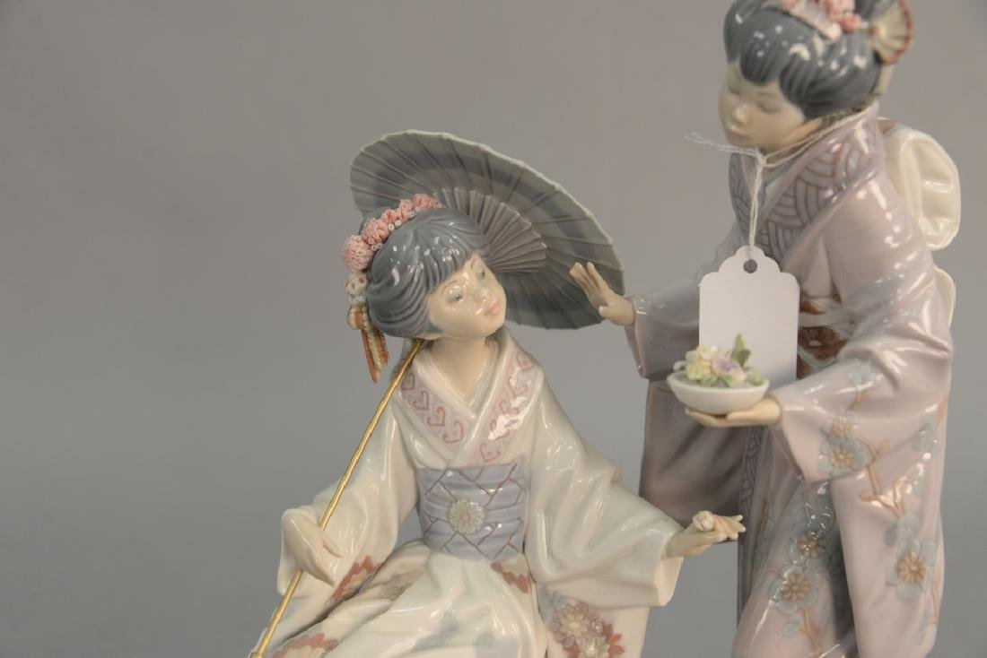 Lladro porcelain figurine having two Geisha girls on a - 2