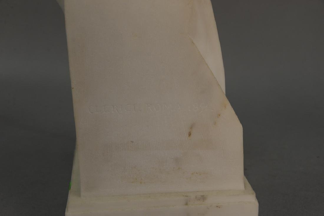Clerici, 19th century marble bust of a man signed and - 4