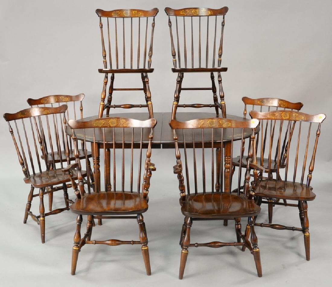 Nine piece Hitchcock dining set to include eight chairs