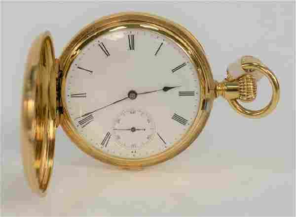 18 karat gold pocket watch, closed face, case marked: