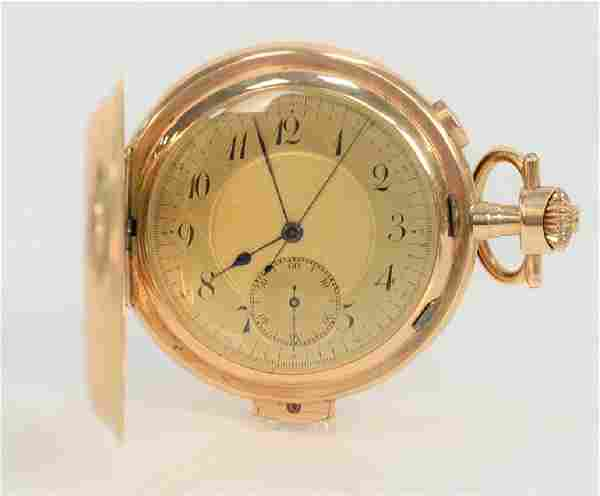 Rival 14 karat gold pocket watch repeater and