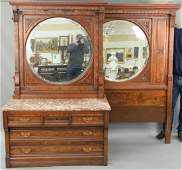 Eastlake Victorian two piece bedroom set, walnut and