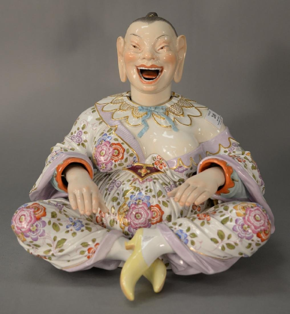 Large Meissen porcelain nodder,  seated figure with
