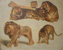 Study of Big Cats Lion, Tiger, & Leopard, unsigned,