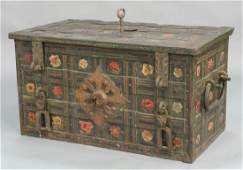 Wrought iron Armada chest strongbox, having flower