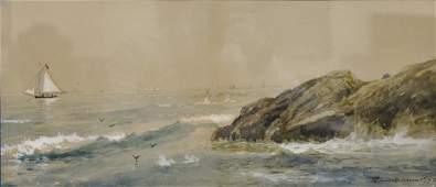 Edmund Darch Lewis (1835-1910),  watercolor,  Seascape,