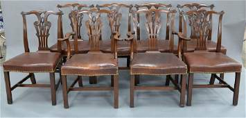 Set of eight Chippendale style, custom mahogany dining