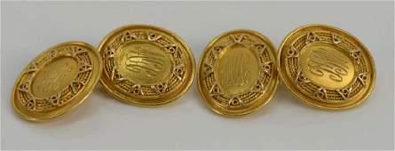 Pair of Tiffany 18 karat gold cufflinks, oval form,