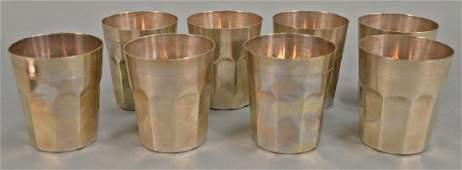 Art Anatolia silver set of eight mugs. ht. 3 7/8 in.,