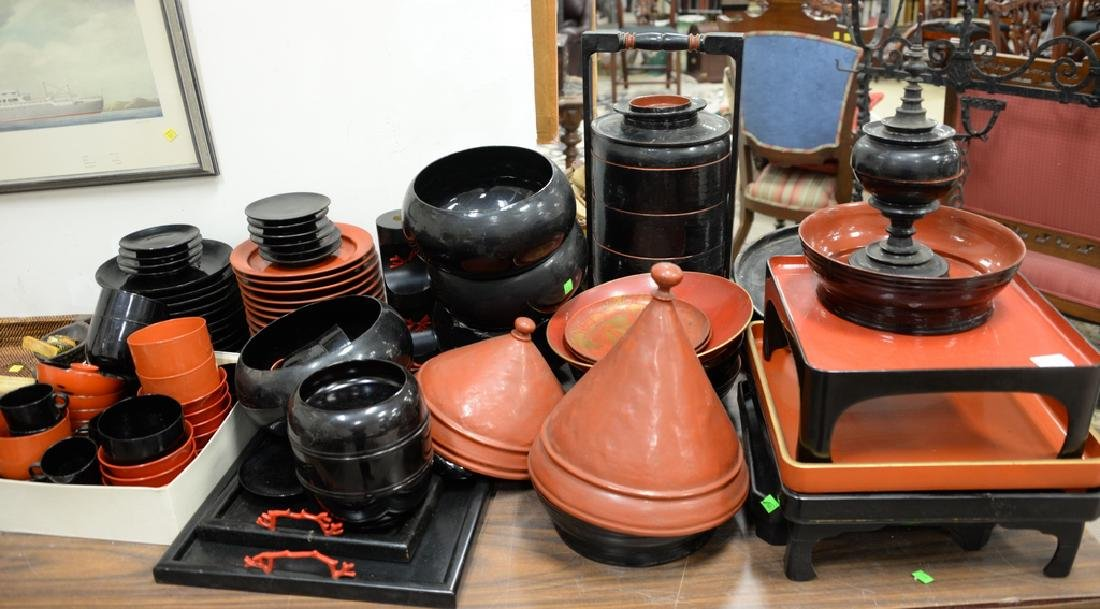 Large lot of lacquerware trays, plates, cups, bowls,