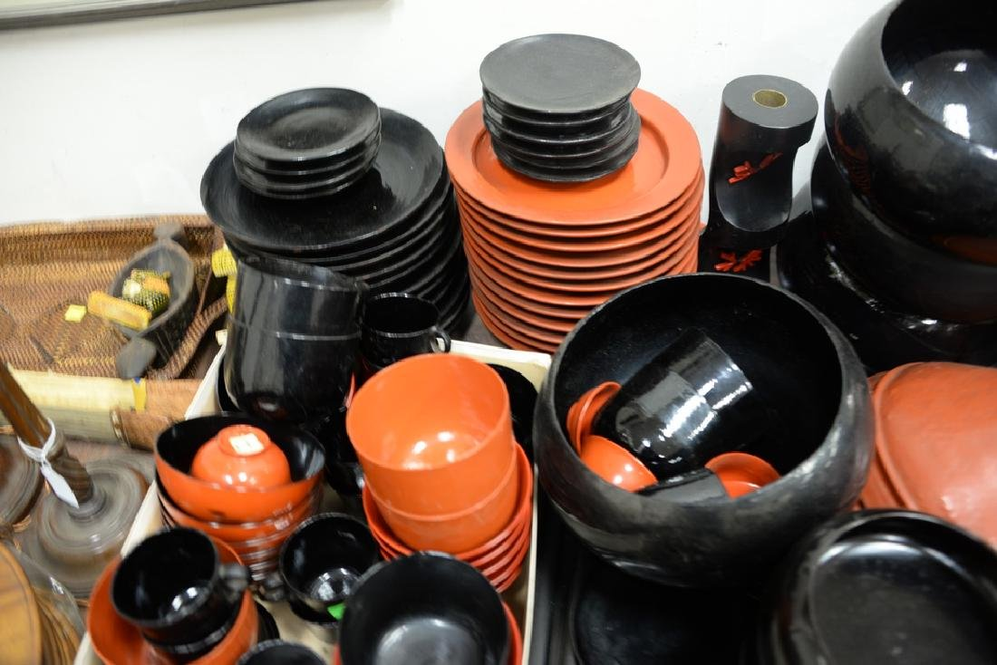 Large lot of lacquerware trays, plates, cups, bowls, - 2
