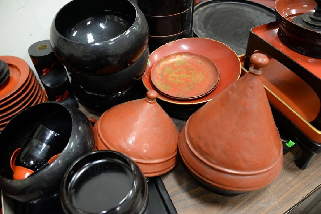 Large lot of lacquerware trays, plates, cups, bowls, - 3