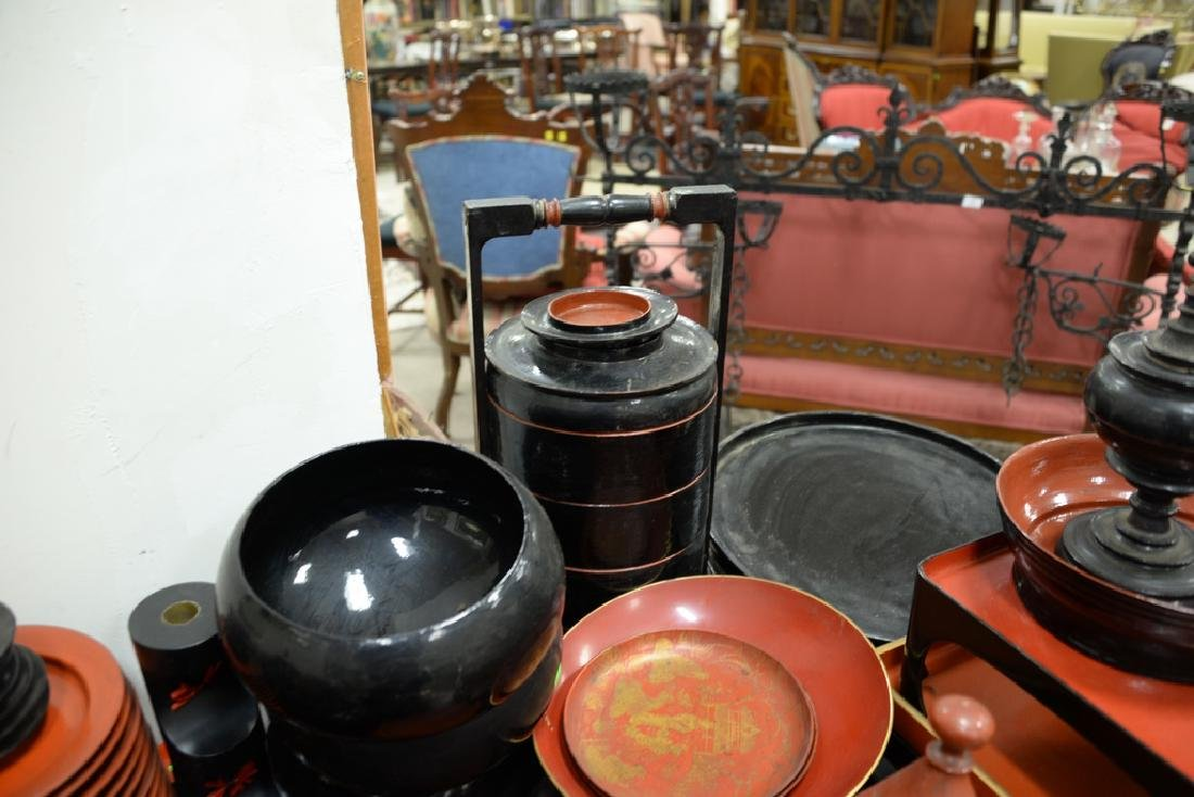 Large lot of lacquerware trays, plates, cups, bowls, - 5