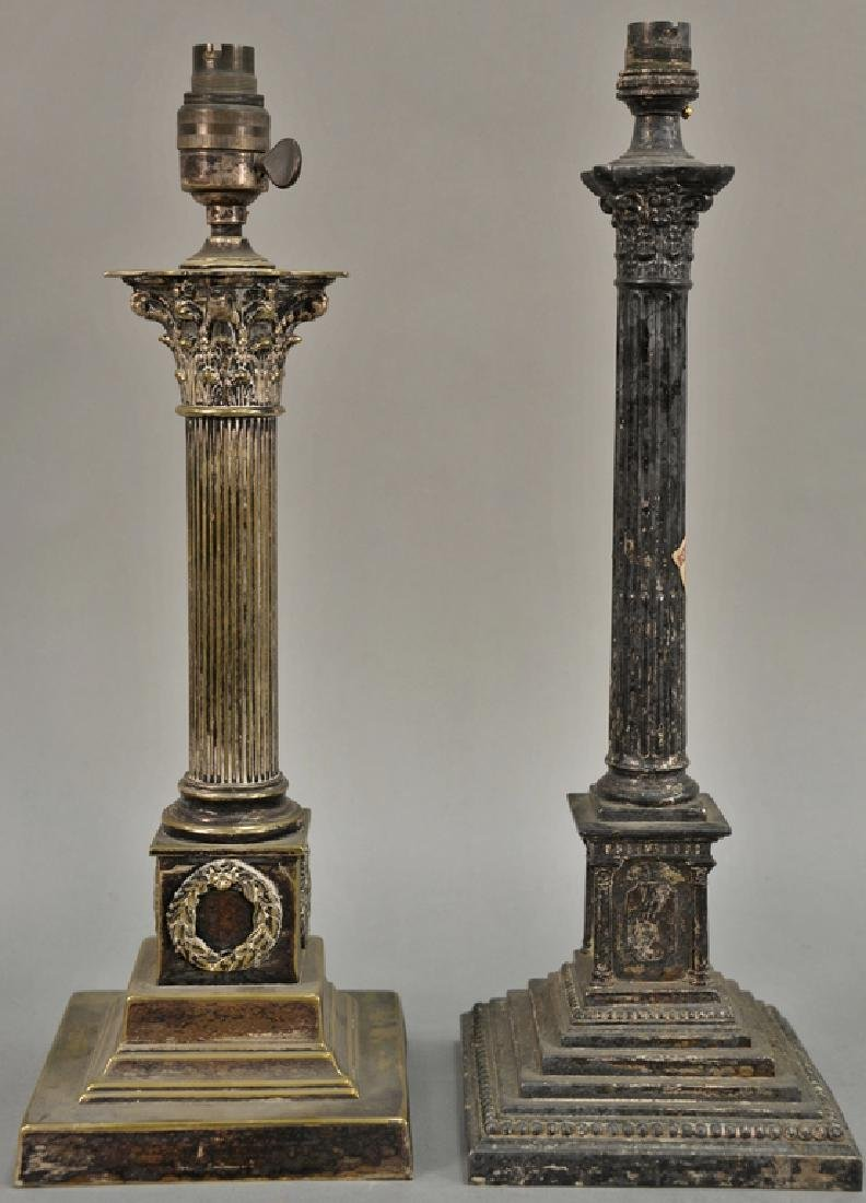 Pair of silver plated column candlesticks made into
