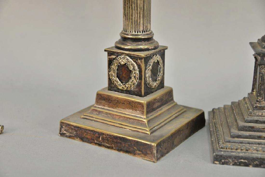 Pair of silver plated column candlesticks made into - 2