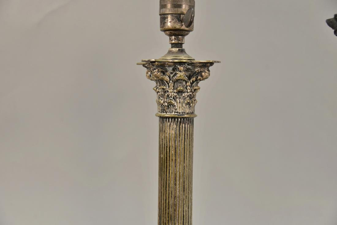 Pair of silver plated column candlesticks made into - 3