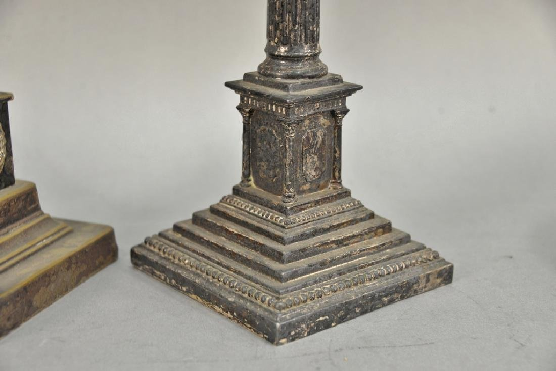 Pair of silver plated column candlesticks made into - 4