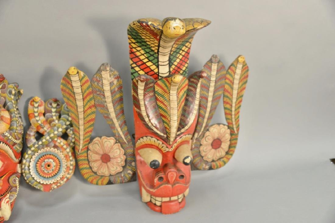 Two carved wood painted cobra snake headdress mask - 3
