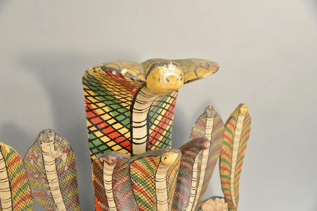 Two carved wood painted cobra snake headdress mask - 5