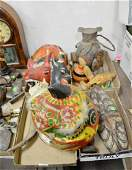 Four tray lots to include masks, African mask and