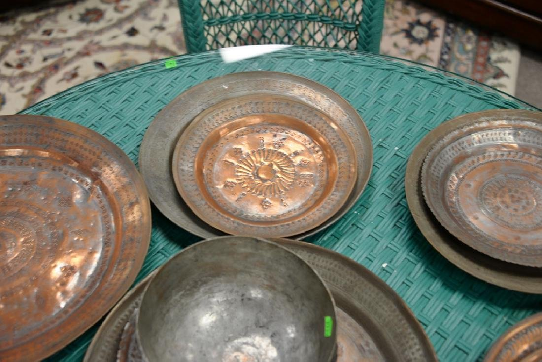 Group of fourteen antique copper pieces, hand hammered - 10
