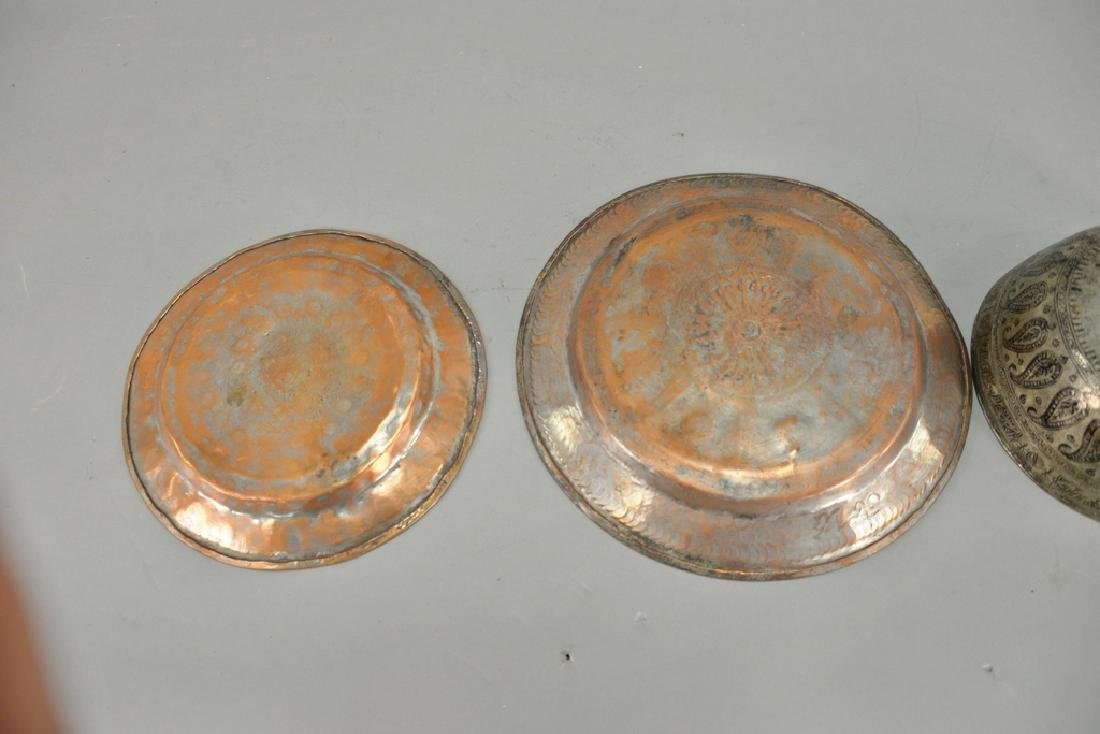 Group of fourteen antique copper pieces, hand hammered - 5