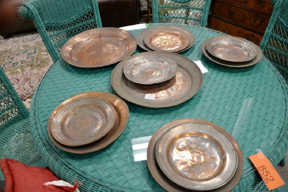 Group of fourteen antique copper pieces, hand hammered - 7