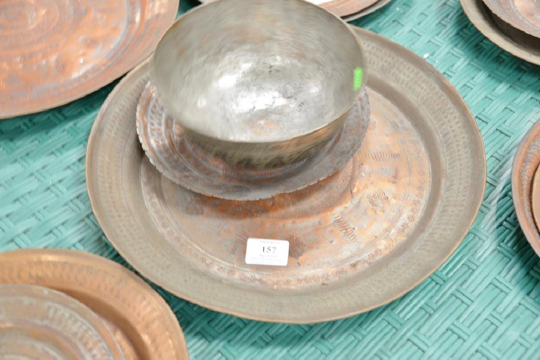 Group of fourteen antique copper pieces, hand hammered - 9