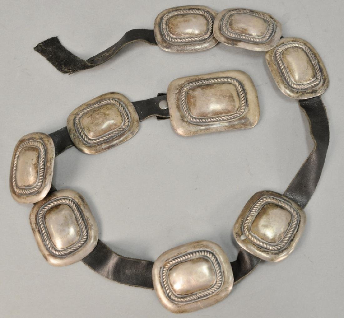 Leather belt with silver squares. 8.3 t oz. total