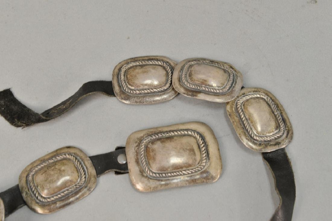 Leather belt with silver squares. 8.3 t oz. total - 3