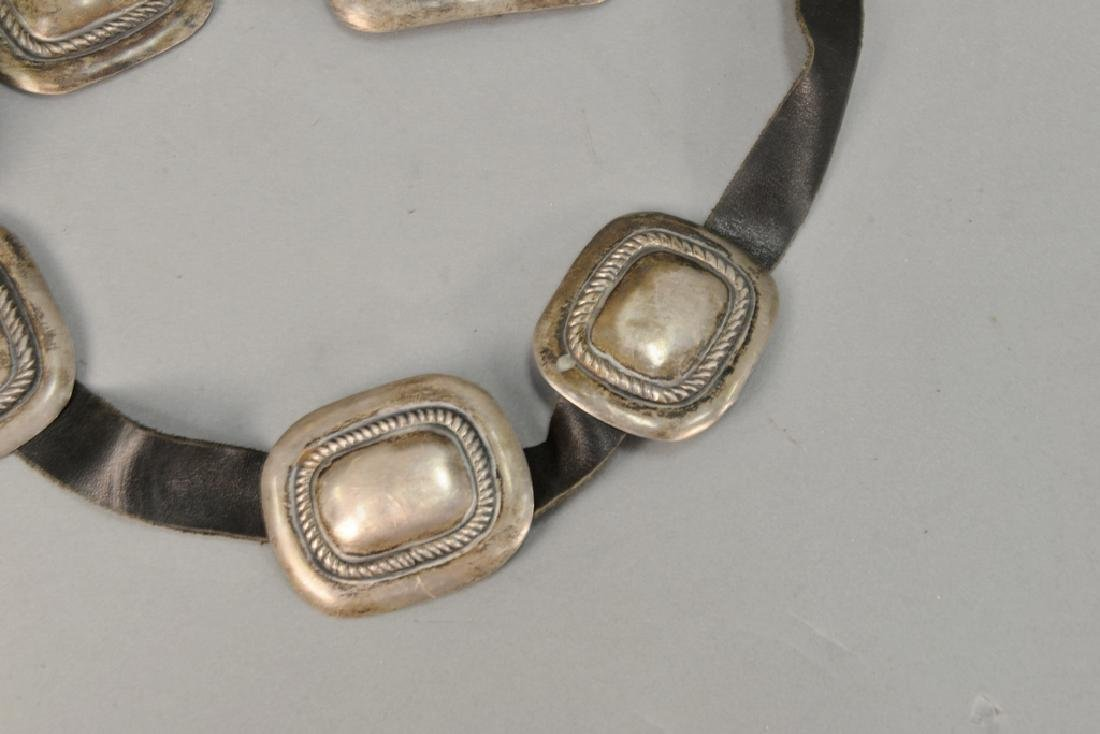 Leather belt with silver squares. 8.3 t oz. total - 4