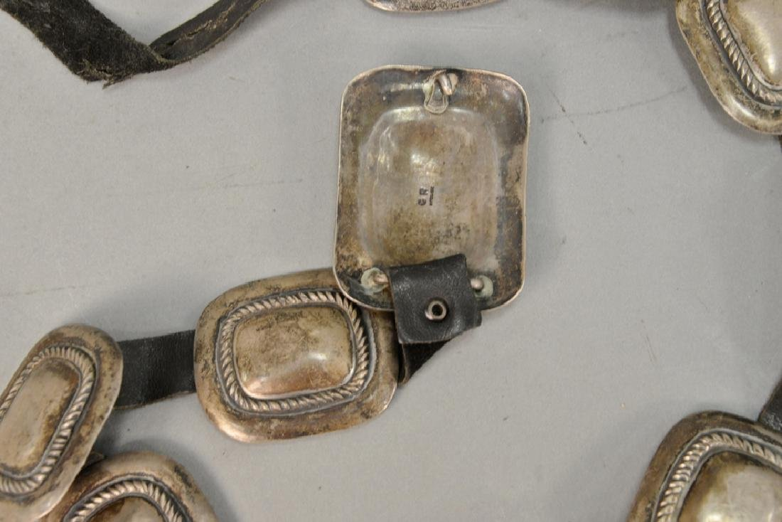 Leather belt with silver squares. 8.3 t oz. total - 5