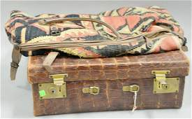 Group lot to include alligator suitcase (ht. 15 in.,