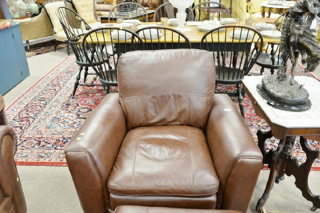 Leather easy chair and ottoman. - 3