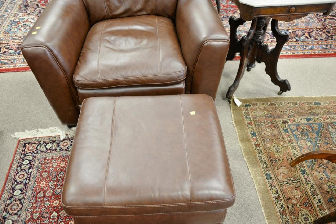 Leather easy chair and ottoman. - 4