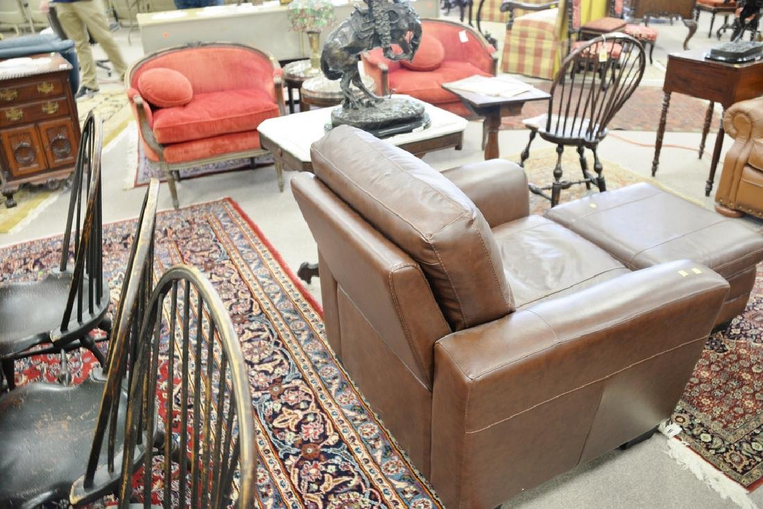 Leather easy chair and ottoman. - 5