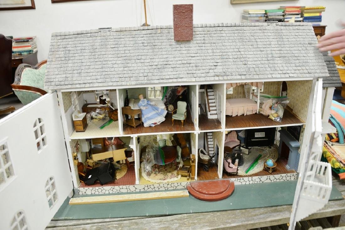 Dollhouse and furnishings. ht. 30 in., lg. 30 in., wd. - 2