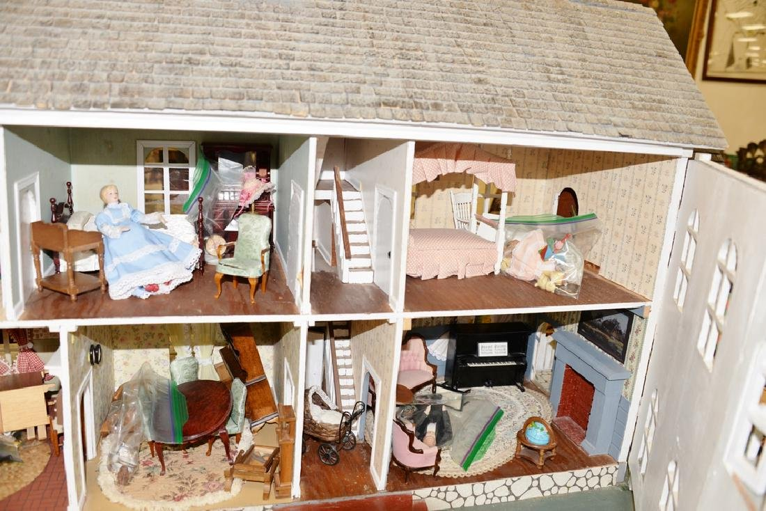 Dollhouse and furnishings. ht. 30 in., lg. 30 in., wd. - 4