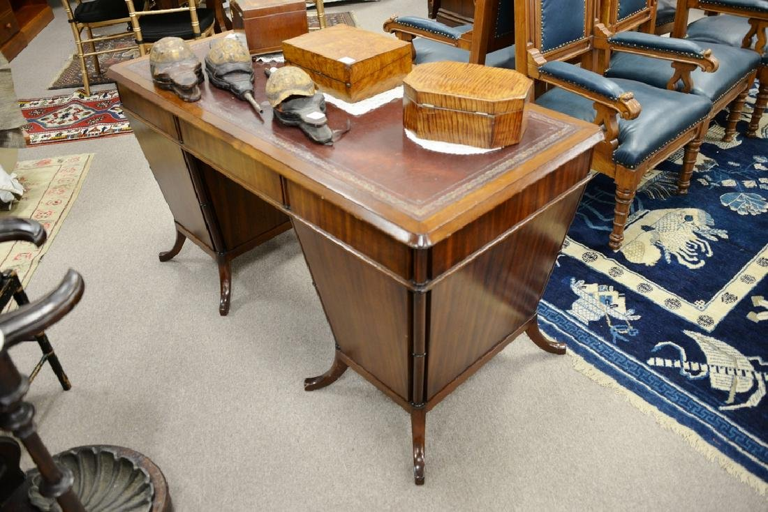 Mahogany desk with red tooled leather top having center - 2