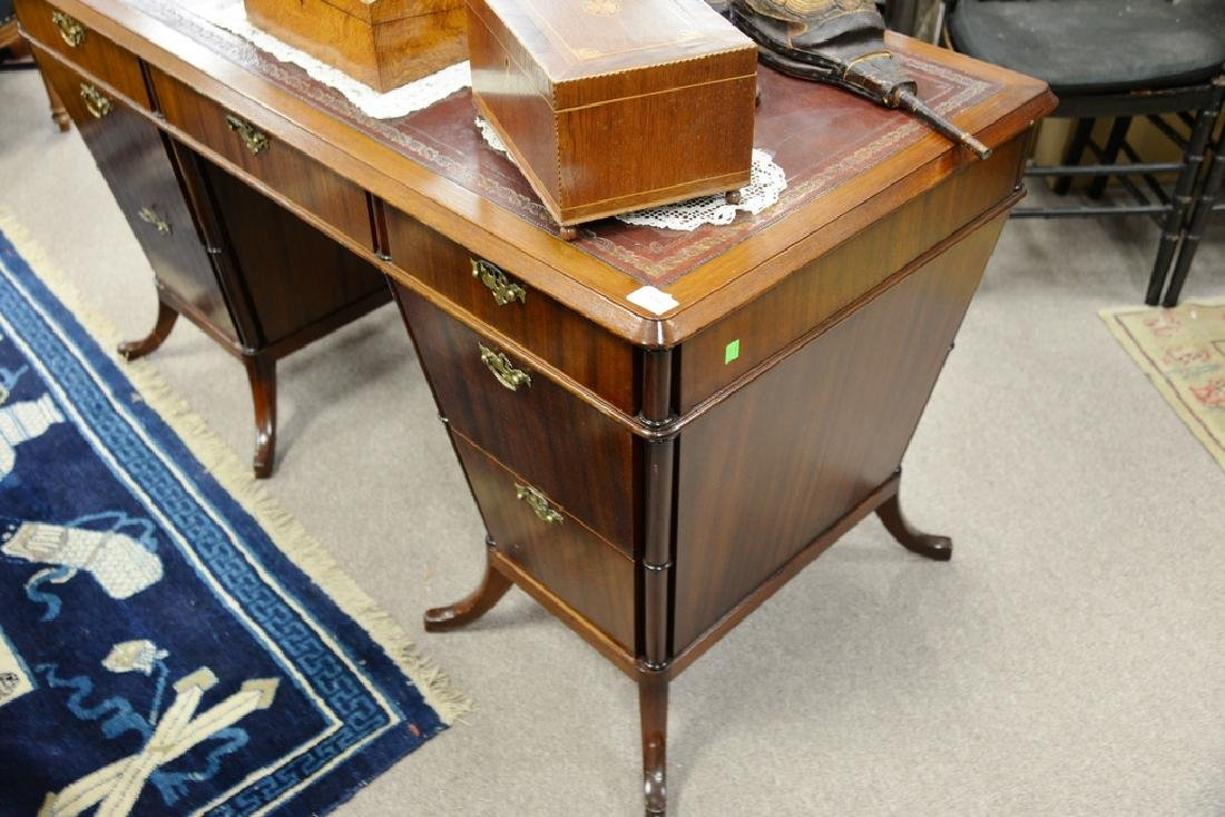 Mahogany desk with red tooled leather top having center - 5