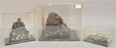 Three mineral rock displays to include large scarab