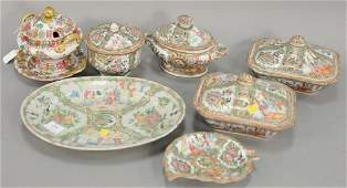 Eight piece lot to include a pair of rose medallion