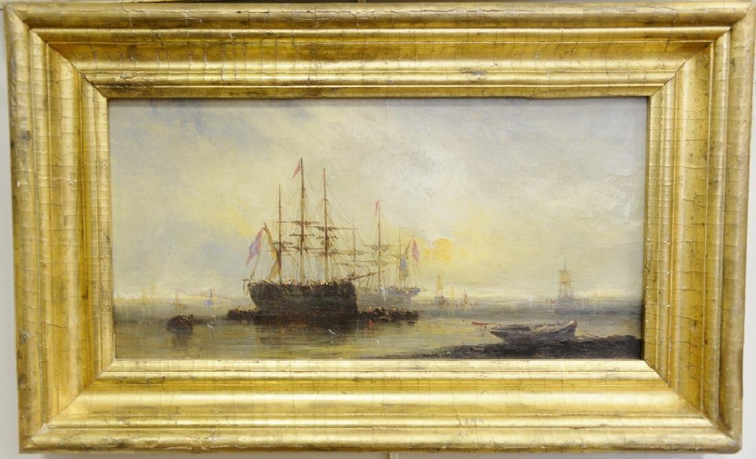 19th Century ship painting, oil on canvas, tall ships