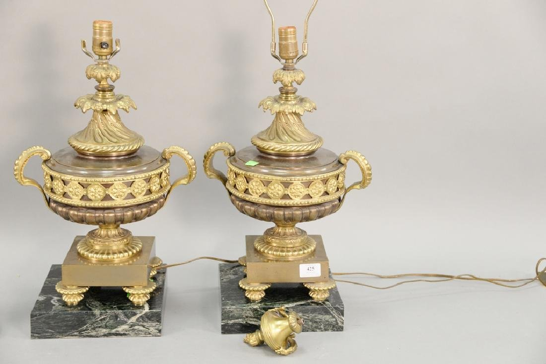 Pair of bronze urns (ht. 16 1/2 in.) made into table