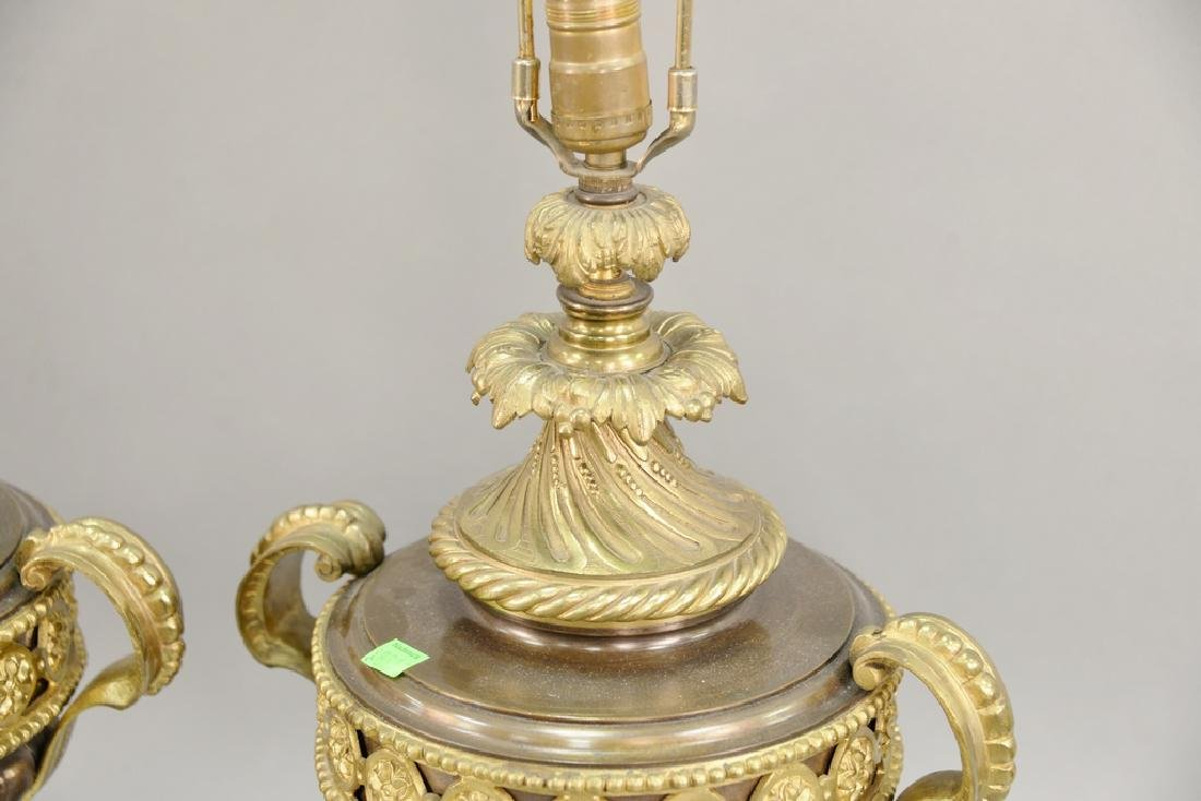 Pair of bronze urns (ht. 16 1/2 in.) made into table - 2