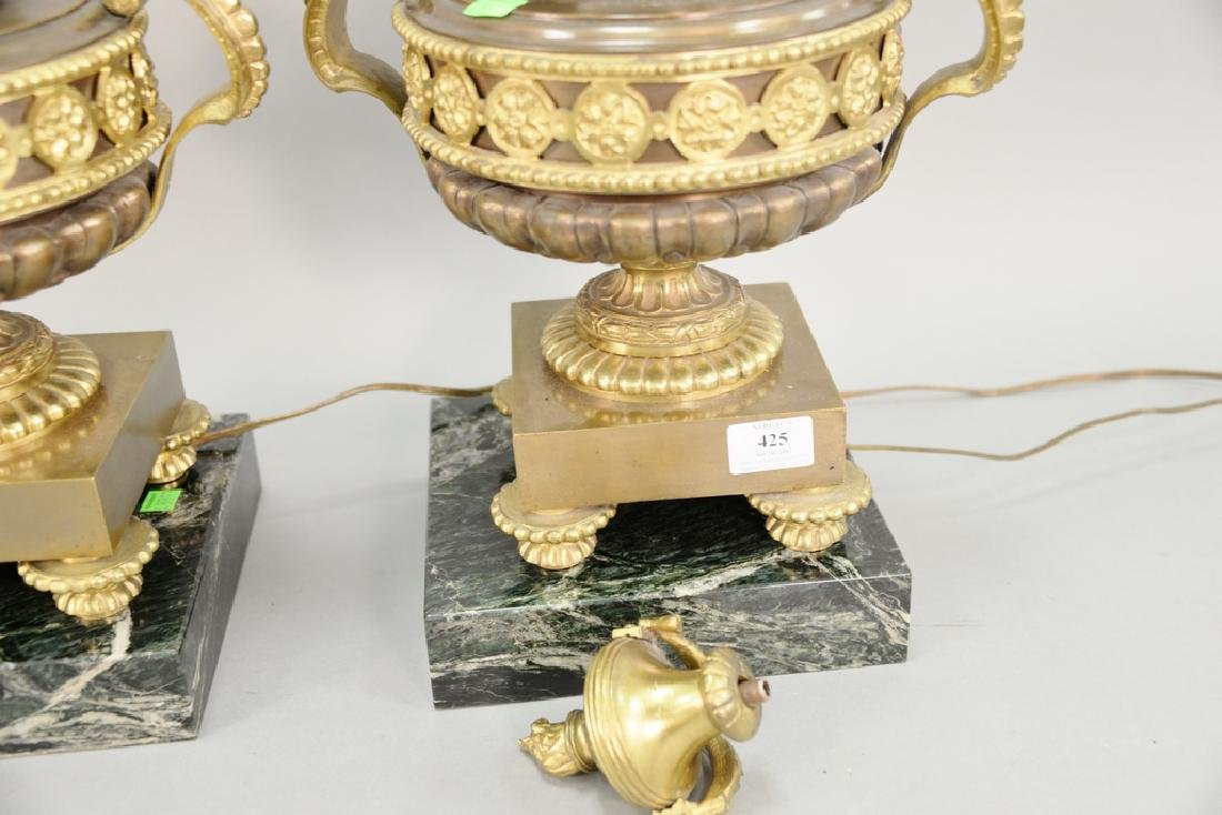 Pair of bronze urns (ht. 16 1/2 in.) made into table - 4