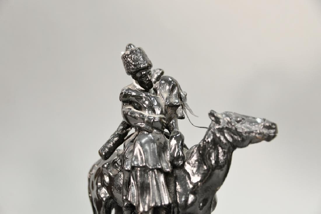 Metal figure Russian Kosak and girl on horse. ht. 9 1/2 - 2