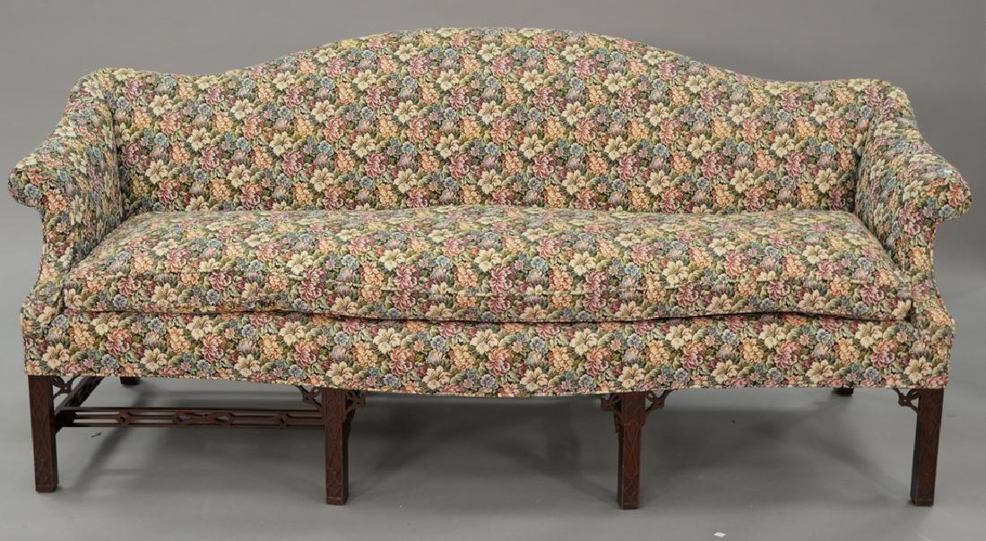 Fineberg Chippendale style camel back sofa on blind