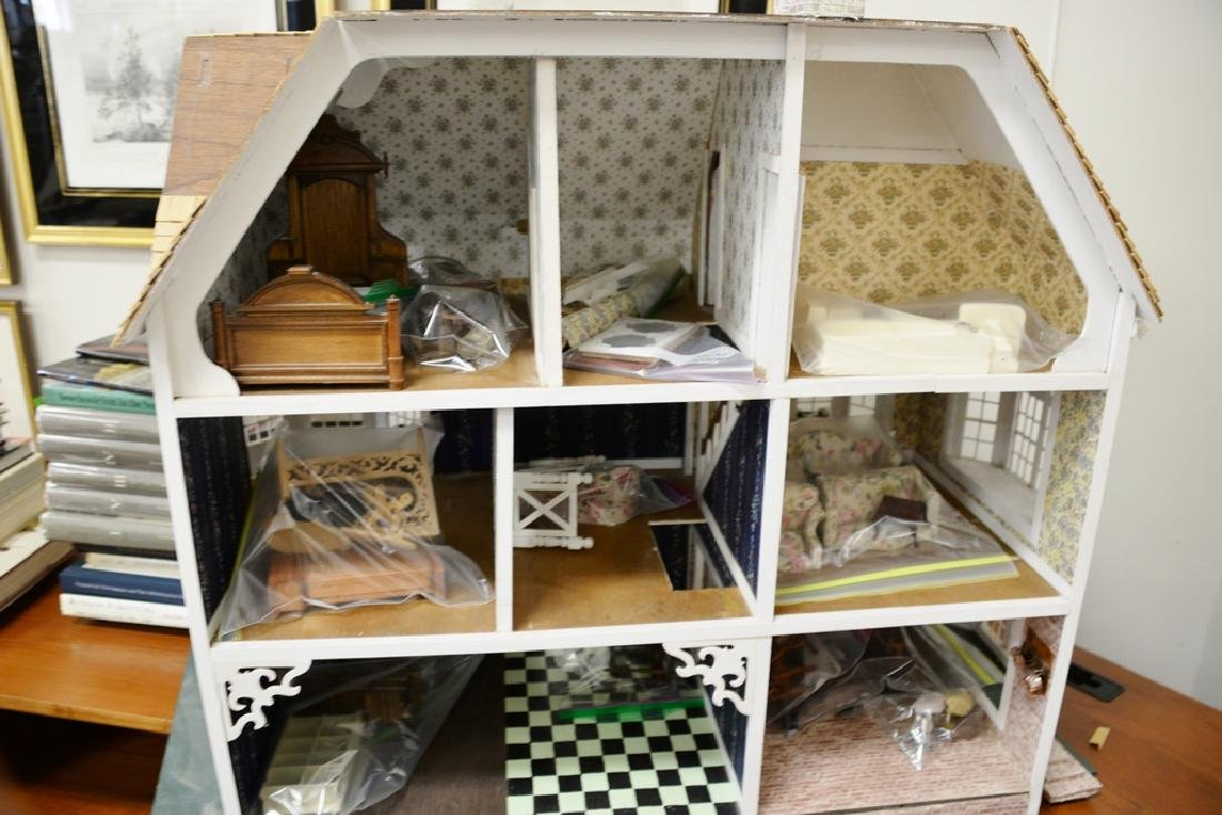Doll house with furnishings. ht. 31 in., wd. 40 in., - 2